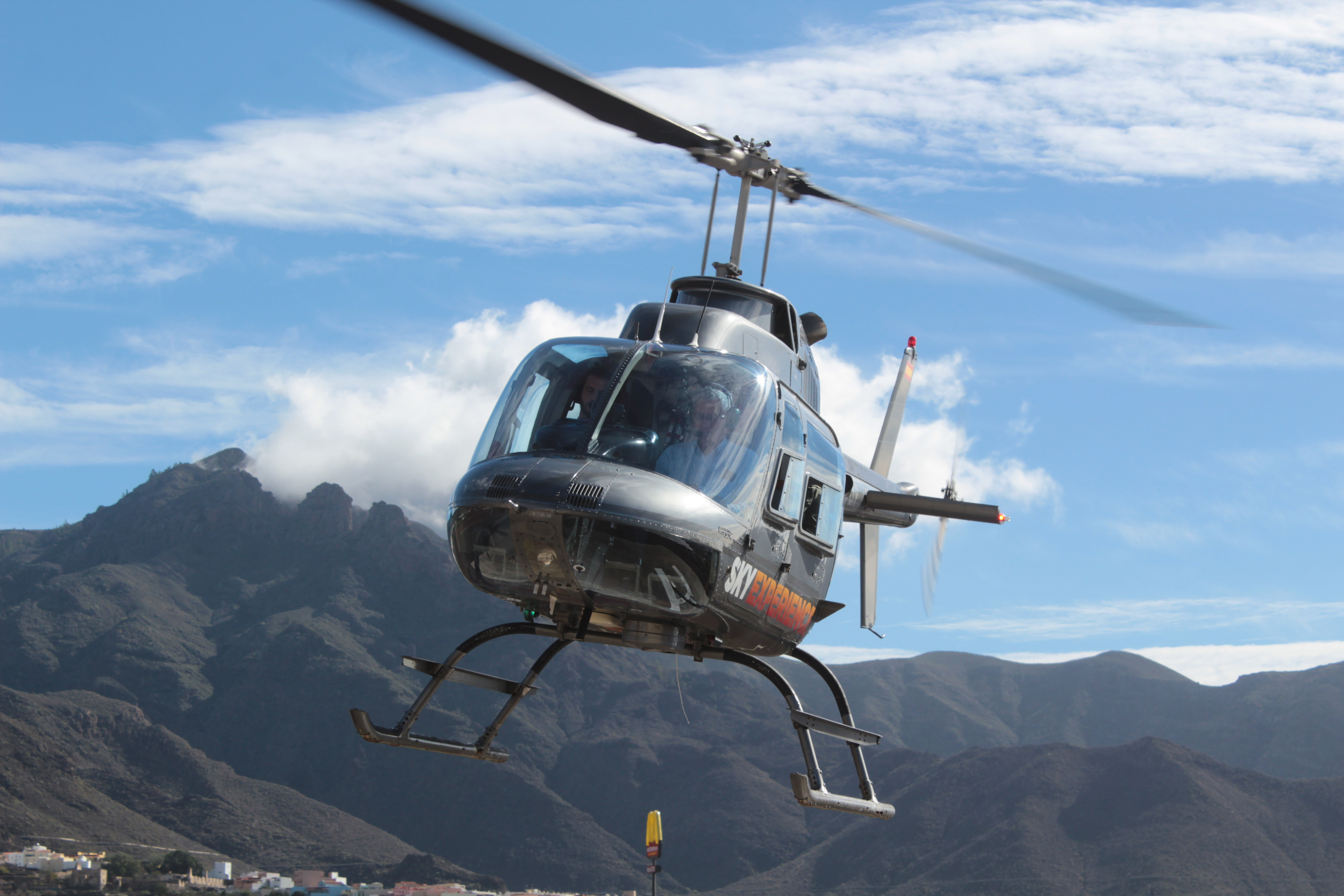 Helicopter flight over the Tenerife coast and ravines